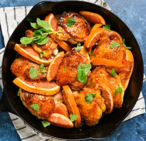Roasted Chicken Thighs with Grapefruit-Honey Glaze