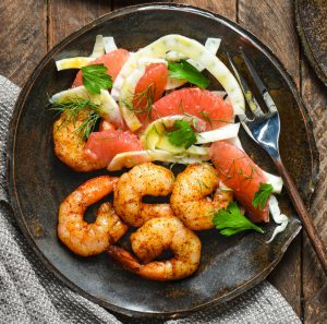 Roasted Shrimp with Grapefruit and Fennel Salad