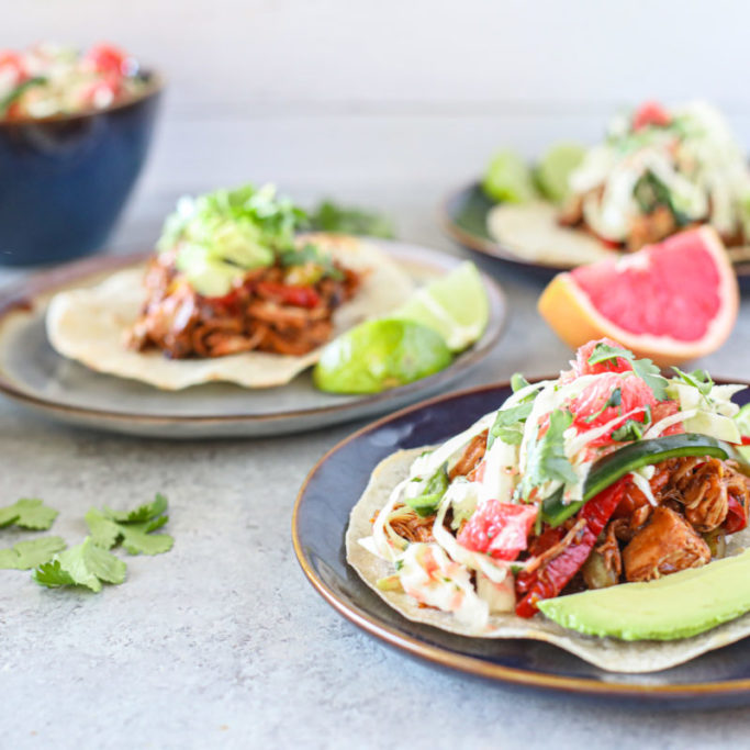 Grain Free Jackfruit Tacos with Grapefruit Citrus Slaw